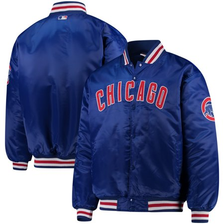 Chicago Cubs Majestic Big & Tall Satin Full-Button Jacket - Royal