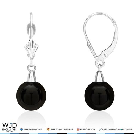 8mm Diameter Ball Shaped Onyx Dangle Leverback Earrings 14K Solid White Gold 1