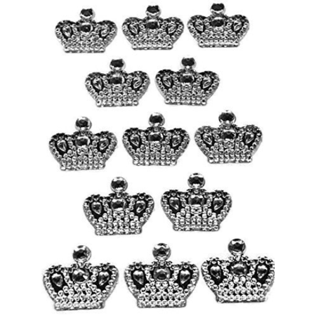 Crown Scrapbooking Stickers (3 Sheets of Silver Crown Prince Princess Sticker Charms 3D Baby Shower or Birthday Scrapbooking Self Adhesive Stickers Party Motives Favor Decorations )