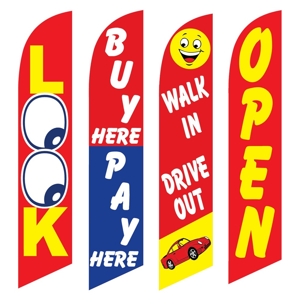 4 Advertising Swooper Flags Look Buy Pay Here Walk In Drive Out Open