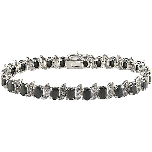 14-7/8 Carat T.G.W. Black Sapphire and Diamond Accent Sterling Silver Bracelet, 7""