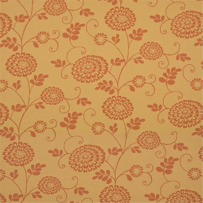 Designer Fabrics K0115A 54 inch Wide Gold And Orange Floral Vines Woven Solution Dyed Indoor & Outdoor Upholstery Fabric