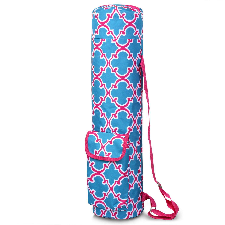 Lightweight Durable Full-Zip Yoga Mat Sports Bag by Zodaca with Pocket & Adjustable Shoulder Strap - Blue Quatrefoil