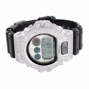 14k White Gold Finish Digital LED DW6900 Custom G Shock Mens Techno Iced Watch