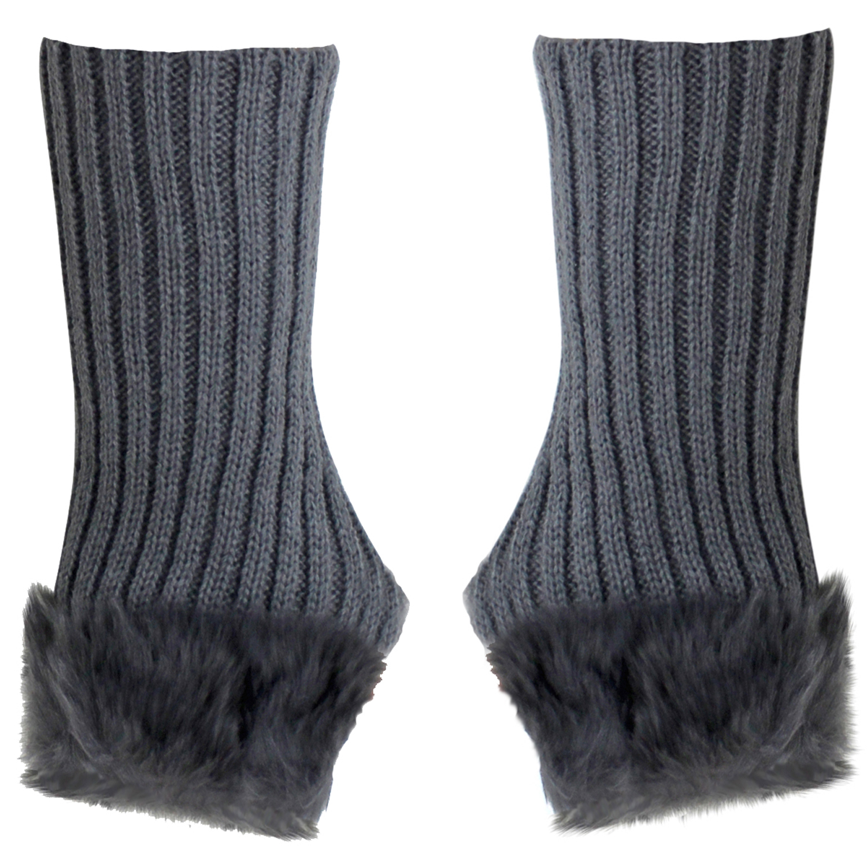 Luxury Divas Ribbed Knit Fingerless Gloves With Fur Trim