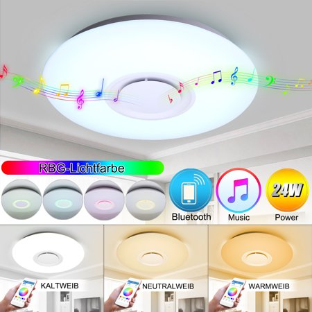 24W LED Music Ceiling Light with bluetooth Music Speakers, Flush Mount Modern Ceiling Down Light Lamp Home Party Bedroom Lighting APP Control Dimmable Color Temperature (Temperature Control Cover)
