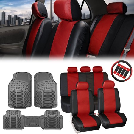 Fh Group Leather Car Suv Seat Covers Red Combo W Gray