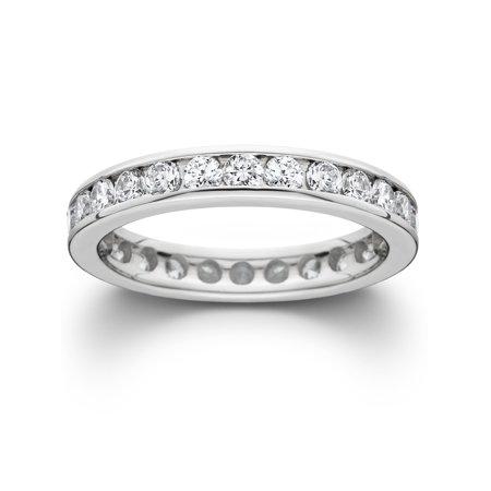 1 1/2ct Channel Set Diamond Eternity Ring 950 Palladium Womens Stackable Band Palladium Engraved Ring