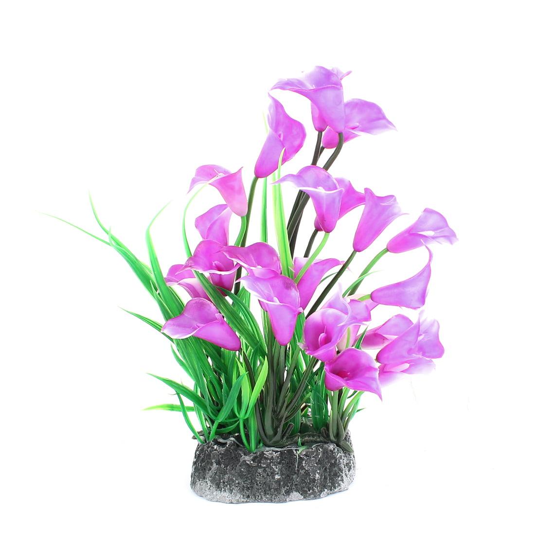 Aquarium Fish Tank Fishbowl Artificial Grass Plant Decor Green Purple 23cm