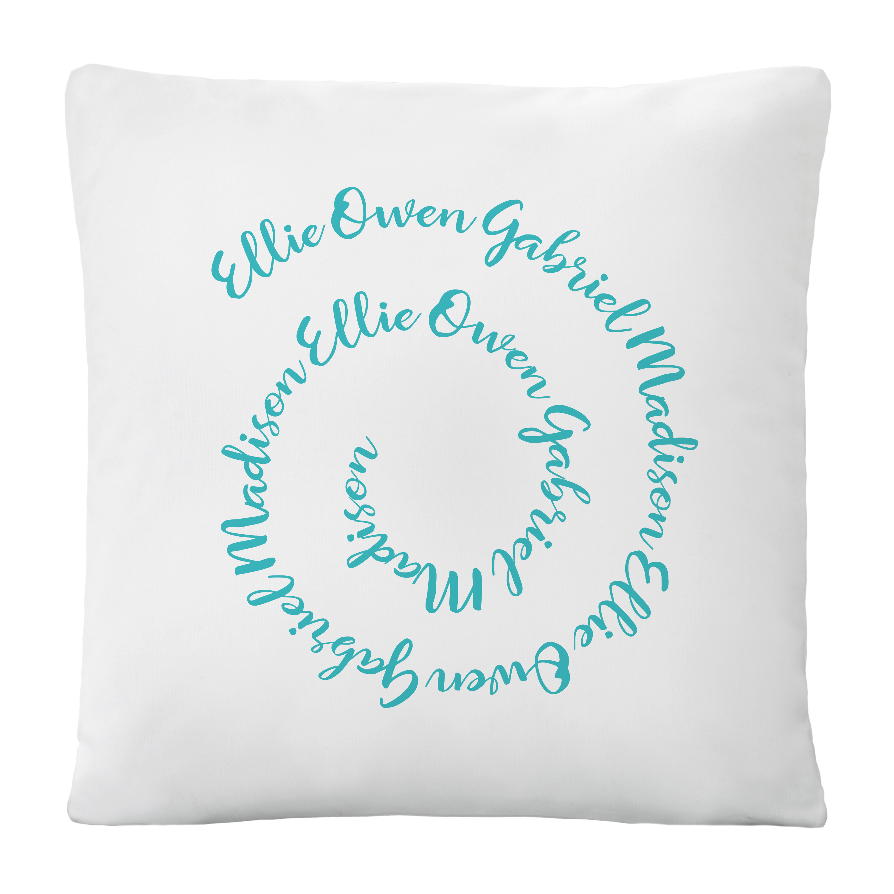 Personalized Circle of Love Throw Pillow - Available in Gold or Teal