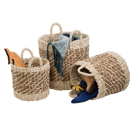 Honey Can Do Coastal Collection Nesting Storage Bins, Natural Weave (Set of 3)