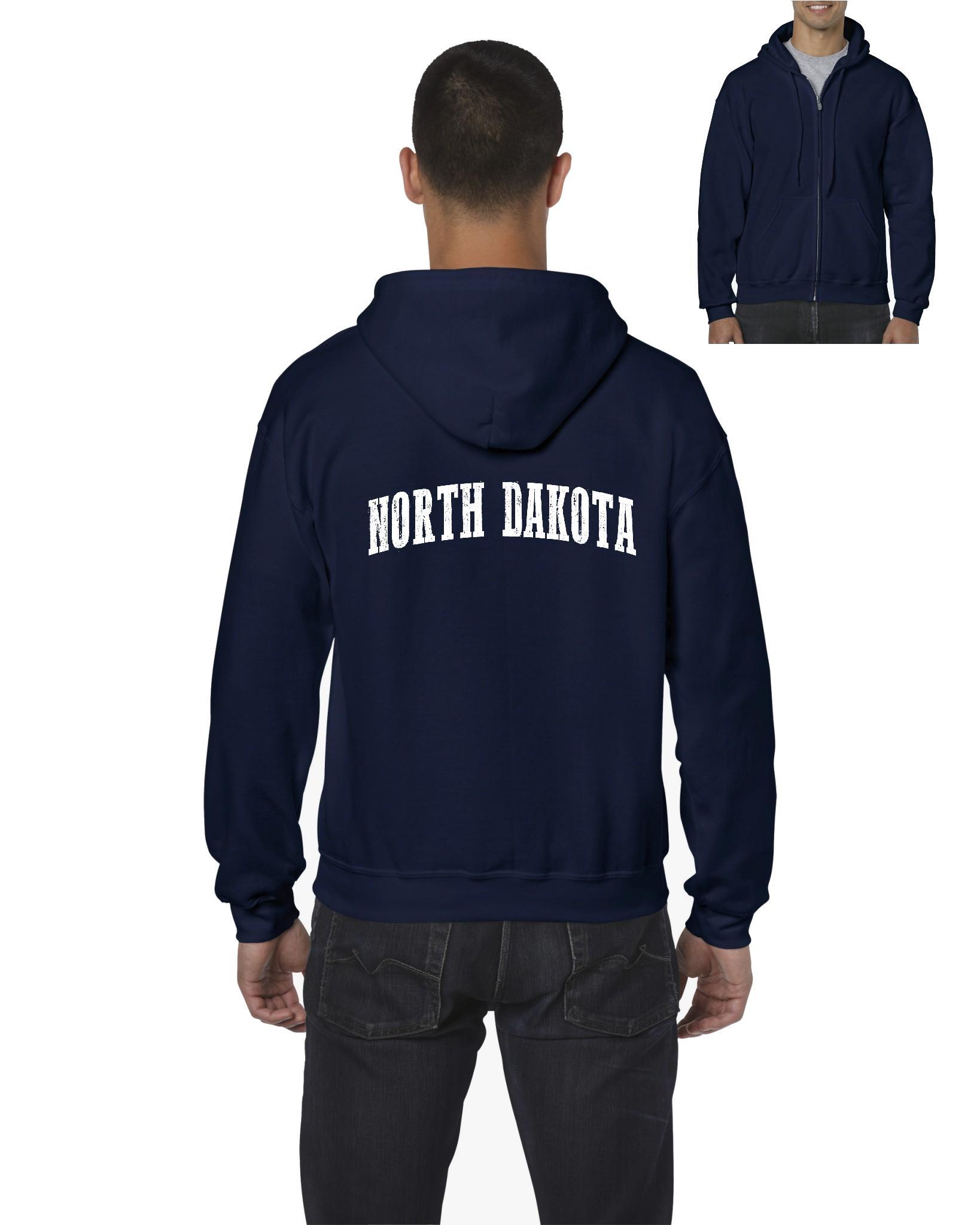 North Dakota American States ND Mens Hoodies Zip Up Sweater by