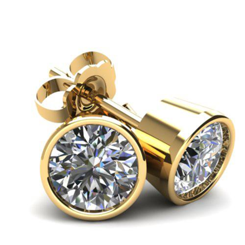 1Ct Round Brilliant Cut Natural Diamond Stud Earrings In 14K Gold