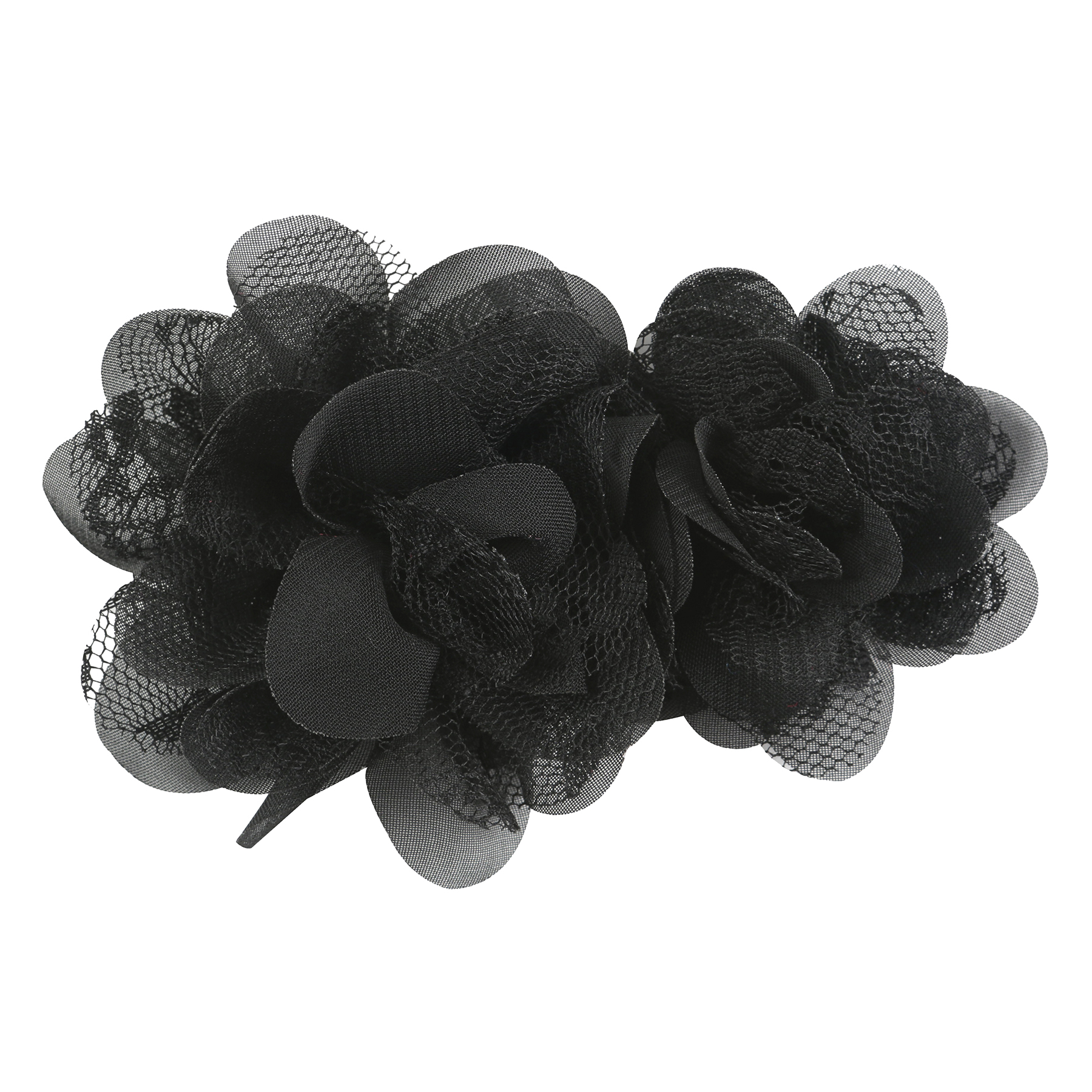 OFFRAY ACCESSORY BLACK CHIFFON LACE FLOWERS 2 PIECES