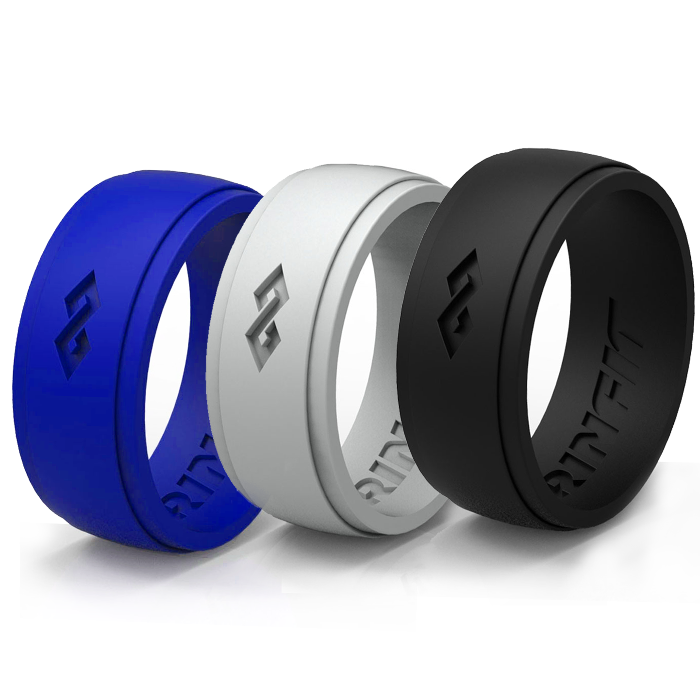 Silicone Ring | Wedding Band For Men by RINFIT,  3 Rings Pack - Premium Quality Silicone Rubber Band. Comes With a Gift -  Designed Gift Package!