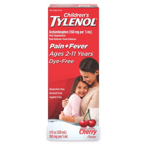 Tylenol Childerns Fever and Pain Reliever Dye-Free Liquid Cherry Flavor, 4 oz