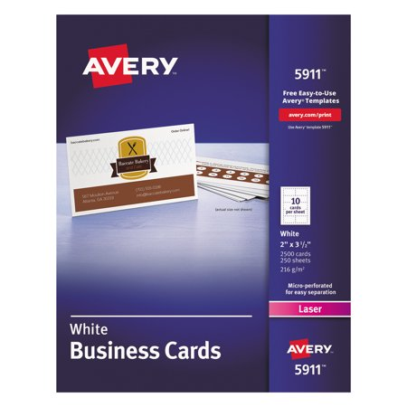 Printable Box Template - Avery Printable Microperf Business Cards, Laser, 2 x 3 1/2, White, Uncoated, 2500/Box