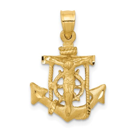 14kt Yellow Gold Nautical Anchor Ship Wheel Mariners Cross Religious Pendant Charm Necklace Mariner Fine Jewelry Ideal Gifts For Women Gift Set From Heart