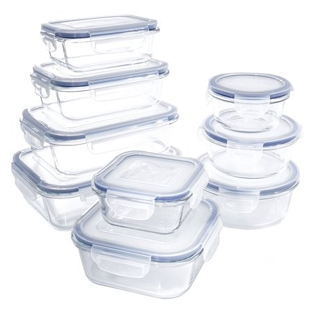 18 Piece Glass Food Container Set With Locking Lids Bpa