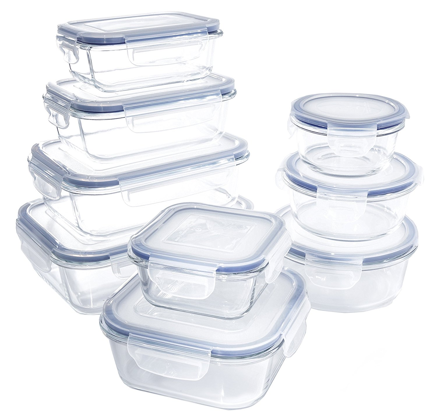 Beau 18 Piece Glass Food Container Set With Locking Lids   BPA Free    Dishwasher, Oven