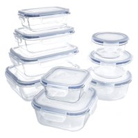 18 piece Glass Food Container Set with Locking Lids BPA Free Dishwasher, Oven, Microwave Safe by The Product Hatchery LLC