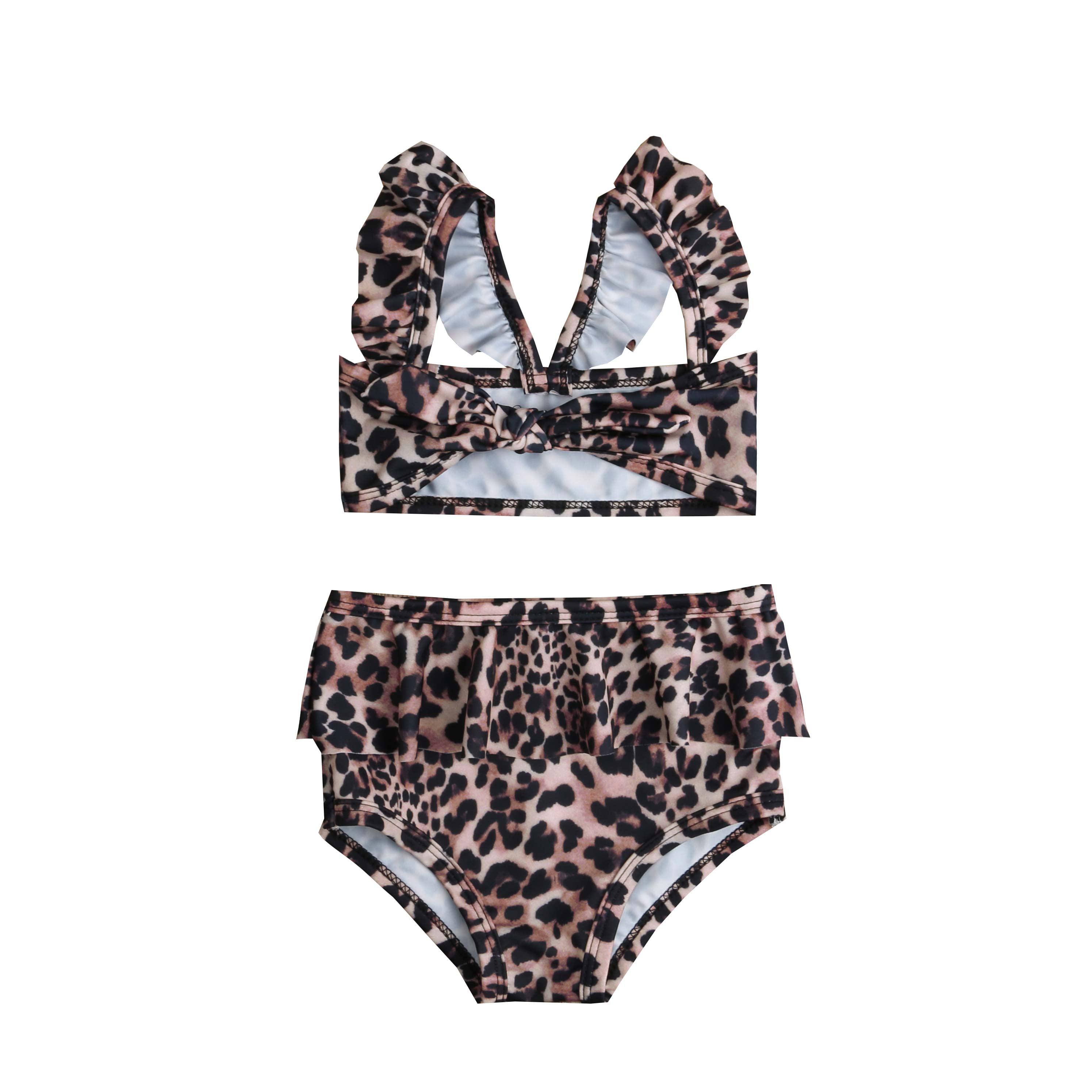 Toddler Kids Girls Leopard Print 2Pcs Bikini Set Children Swimsuit Beachwear