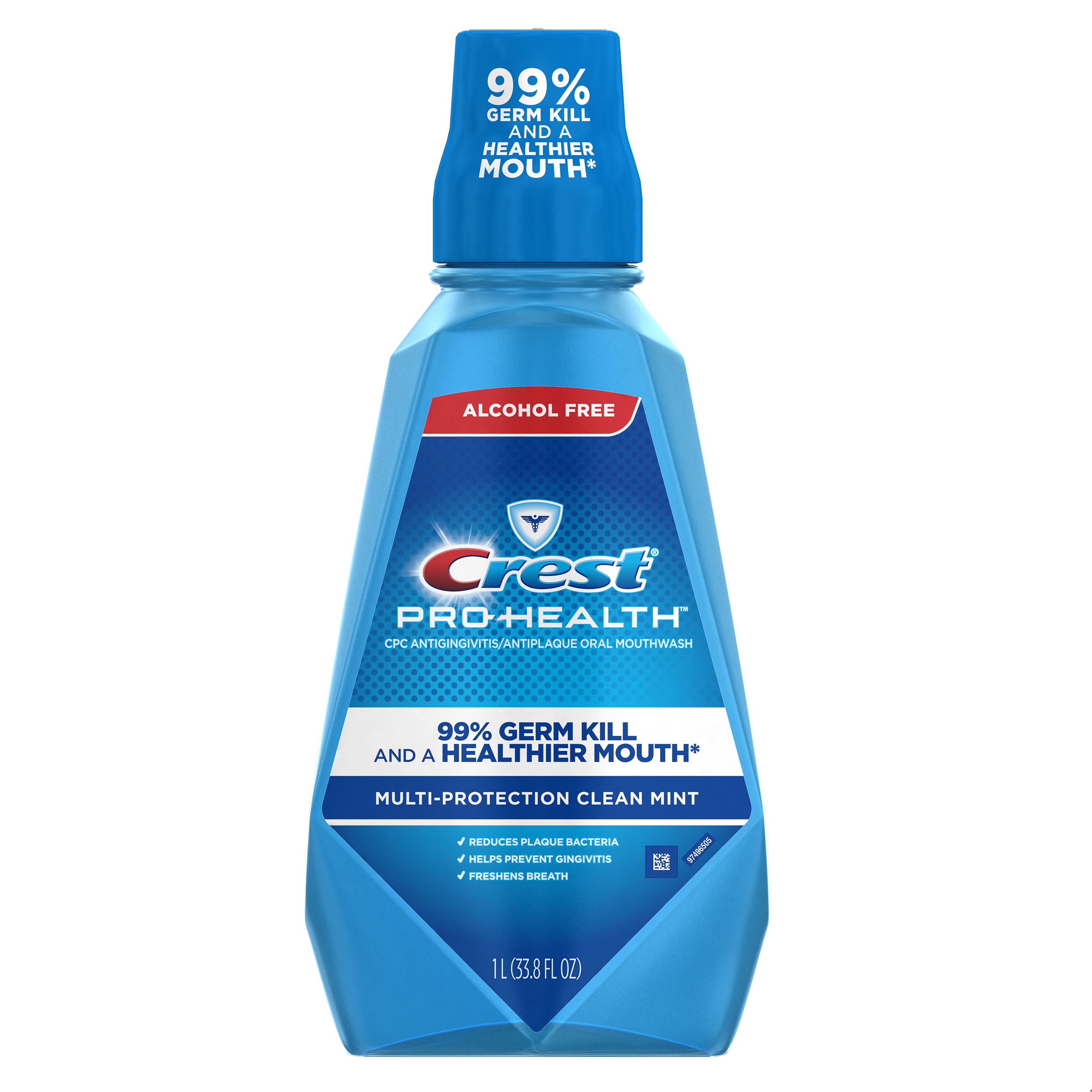 Crest Pro-Health Multi-Protection Alcohol Free Mouthwash, Clean Mint, 33.8 fl oz (1 L)