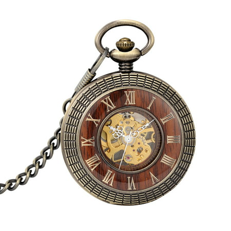 Mechanical Pocket Watch Gold Dial Wooden Skeleton Classic Retro Luxury Dress Best Chioce for Collection,Couples