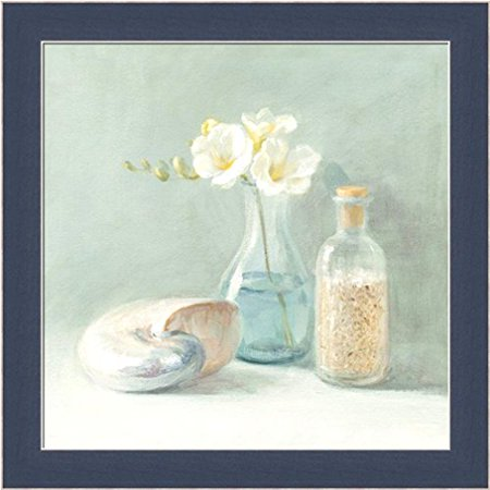 FRAMED Freesia Spa by Danhui Nai 10x10 Art Print Poster Shell Coastal Flowers Bath Bathroom