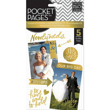 Me & My Big Ideas Pocket Pages Clear Stickers, 5 Sheets per pk, Wedding Day - Different Wedding Ideas