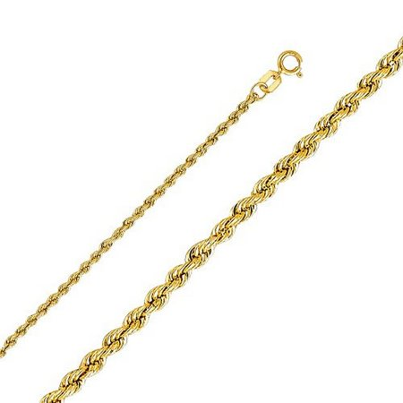 14k Yellow Fashionable (14K Yellow Gold Men Women's 2.0MM Rope Chain Spring Clasp (24) )