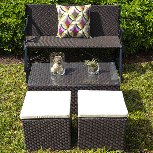 Matrix Hollywood Outdoor Rattan Cocktail Table and Two Seating Stools with Cushions