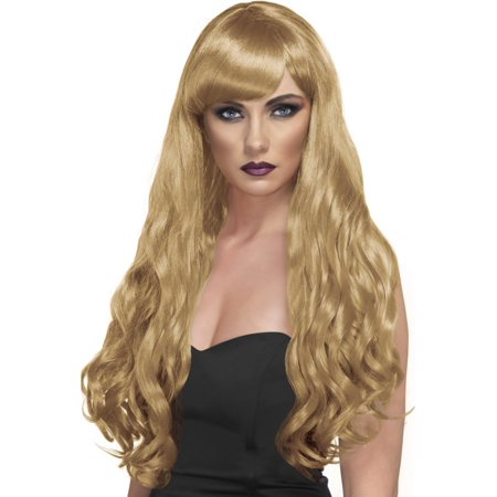 Desire Long Curly Costume Wig Adult Blonde - Blonde Curly Wig