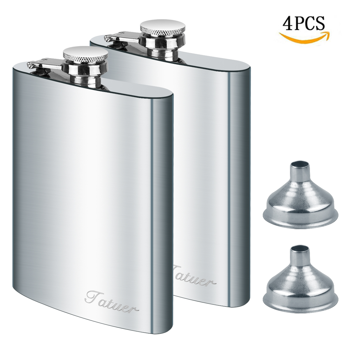 Stainless Steel Flask Funnel Set, Tatuer 2pc 8 oz Whiskey Flask Vodka Alcohol Flask, Hip Flask, Flask For Men, Flask with 2 Funnel For Ski Travel Climbing Fishing Camping 227ml Silver (8 oz)