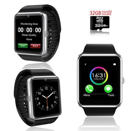 Indigi  Silver Gt8 Bluetooth 2In1 Smartwatch   Phone W  Pedometer   Sleep Monitor   Camera W  32Gb Microsd Included