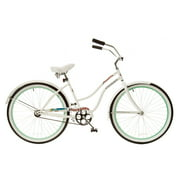 TITAN Docksider Deluxe Women's Beach Cruiser Bike, White/Mint Green
