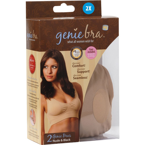 As Seen on TV Genie Bra 2XL, Black/Nude, 2-Pack