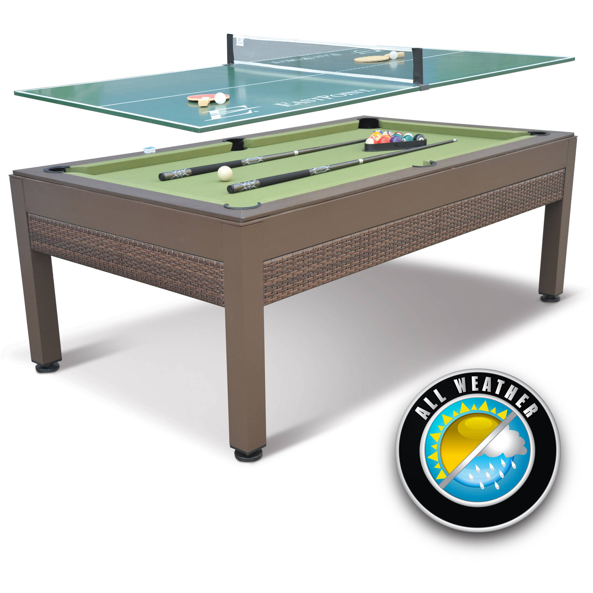 EastPoint Sports 84 Inch Outdoor Billiard Pool Table With Table Tennis Top