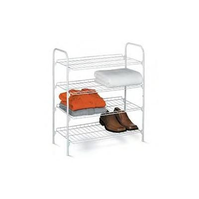 Honey-Can-Do 4 Tier Wire Shoe Rack and Accessory Shelf Closet Shelves White Home... by GSS
