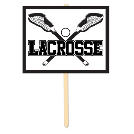 Pack of 6 Black and White Lacrosse Yard Sign Sports Party Decorations 11