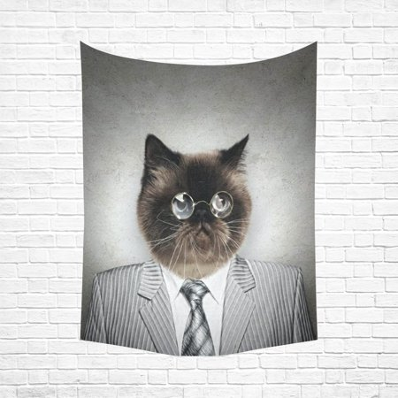 Animals In A Suit (PHFZK Animal Background Wall Art Home Decor, Funny Fluffy Cat in a Business Suit Tapestry Wall Hanging 60 X 80)