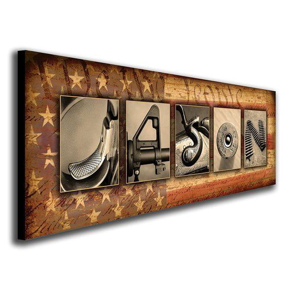 Personalized Firearm Guns Name Canvas Wall Art, Live Previews, Choose Each Photo, Multiple Options