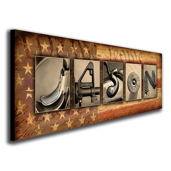 Personalized Firearm Guns Name Canvas Wall Art, Live Previews, Choose Each Photo, Multiple Options