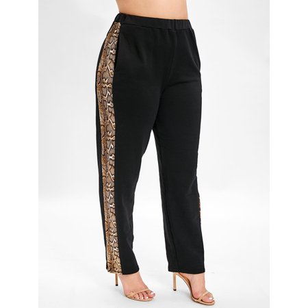 Plus Size Side Snakeskin Print Elastic Waist Pants (Lee Side Elastic Twill Pants Plus Size)