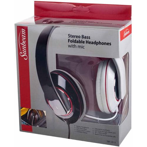 dbf53943cb0 Sunbeam Stereo Bass Foldable Headphones - Walmart.com