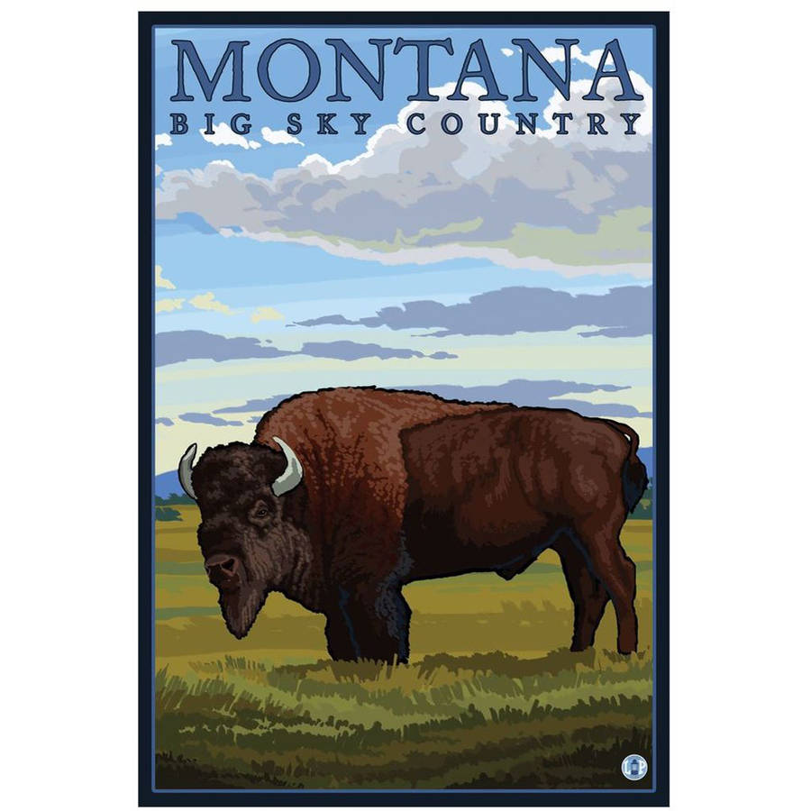 Montana - Bison: Retro Travel Poster by Eazl Cling