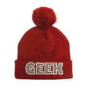 Geek Cuff Pom Beanie, Burgundy