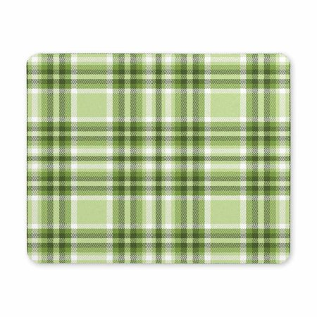POP Gaming Mouse Pad Oblong Shaped Tartan Plaid in Green and White Mouse Mat 9x10 inch - image 1 of 2