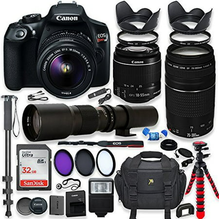 canon eos rebel t6 dslr camera with 18-55mm is ii lens bundle + canon ef 75-300mm f/4-5.6 iii lens and 500mm preset lens + 32gb memory + filters + monopod + spider tripod + professional (Best Professional Camera Lenses)