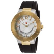 11315Sm-Sg-02 Riviera Black Silicone Silver-Tone Dial Stainless Steel Gold-Tone Bzl Watch